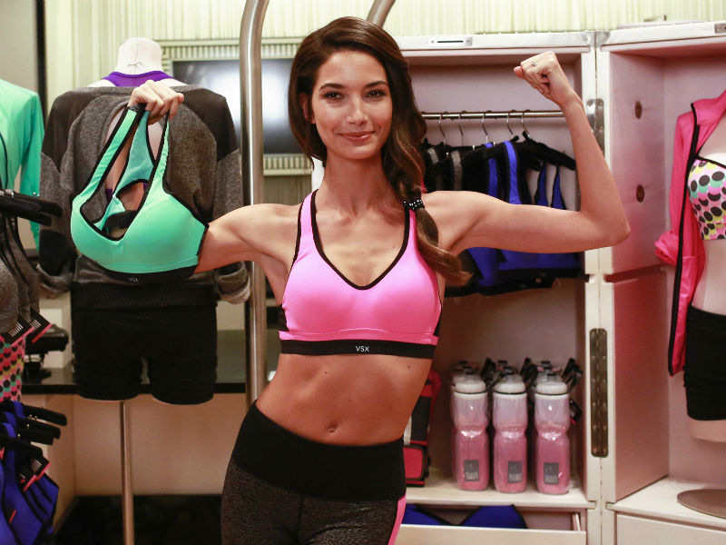 Victoria's Secret model Lily Aldridge poses with a sports bra. Photo: Reuters