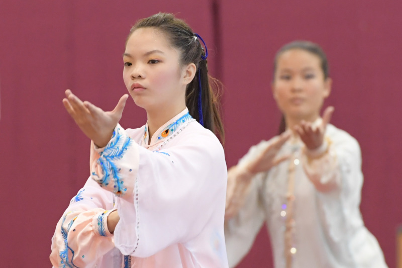 National School Games Wushu Championship Taijiquan competitors display their routine. Photo by Lim Sau Boon/SportSG