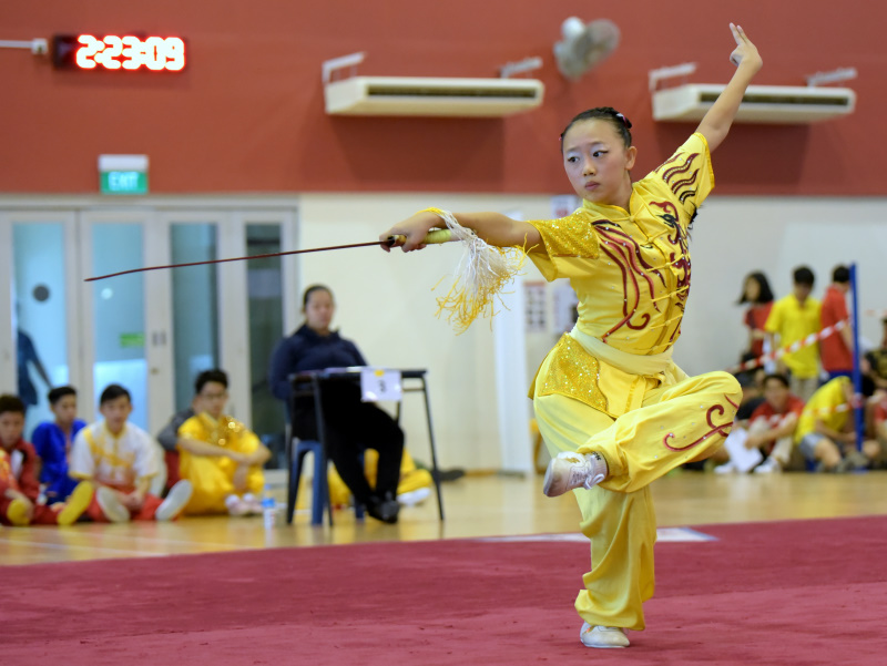 A jianshu competitor posing in her stance mid routine for the judges. Photo by Leong Ah Chai/SportSG