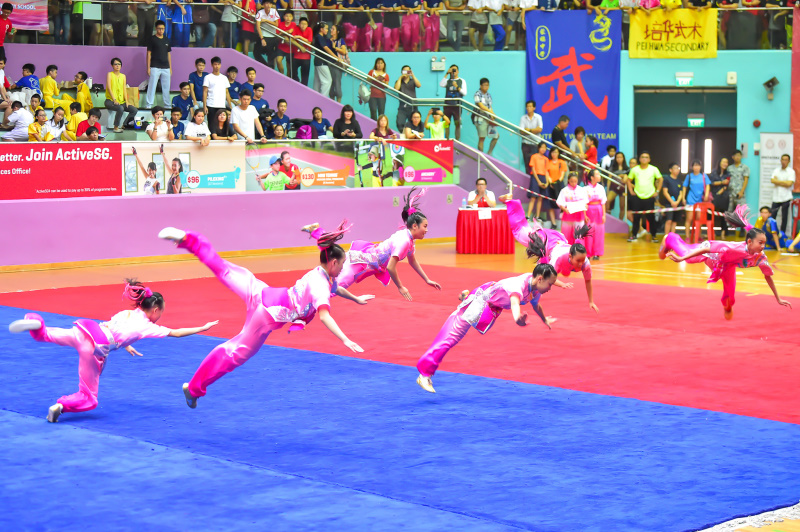 All girls group performances displayed by one of the participating schools during the finals of National School Games Wushu Championships. Photo by Freddy Chew/SportSG