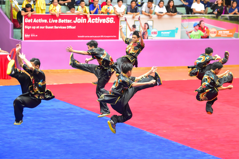 All Boys group wushu performances displayed by one of the participating schools during the finals of National School Games Wushu Championships. Photo by Freddy Chew/SportSG