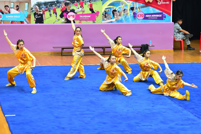 All girls group wushu performances displayed by one of the participating schools during the finals of National School Games Wushu Championships. Photo by Freddy Chew/SportSG