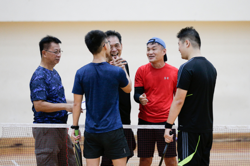 Pickle Ball - Kelvin Low (Red Tee) & Cheng Leng beat Calvin Teh & Daryl Kwok in GetActive! Singapore National Games 2018 held in Jurong West Stadium on 29 July. Photo by Victor Lim/SportSG