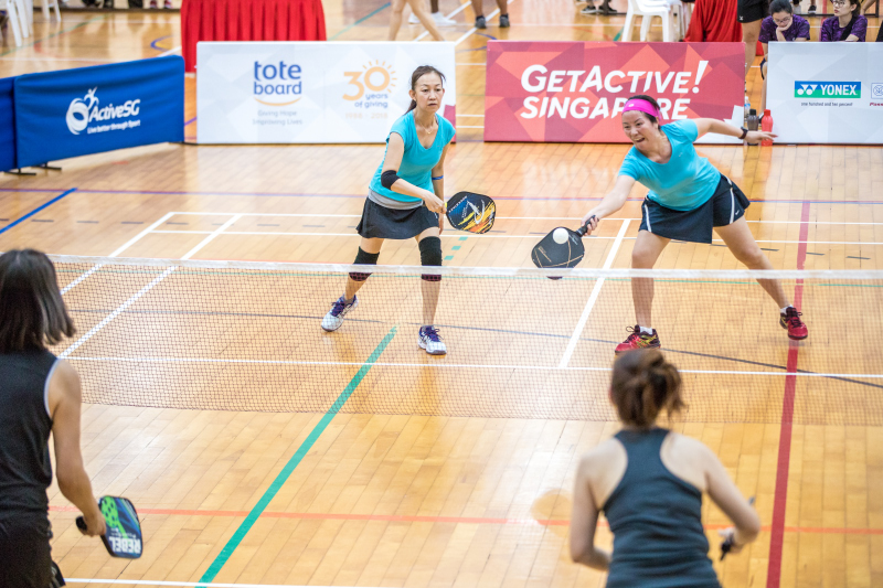 Chong Lee Ping & Chen Xiao Hong in action during the Singapore National Games 2018 Pickleball Tournament, Individual Intermediate Open Women's Doubles Round Robin at Jurong West Sports Centre  on July 29. Photo by Dyan Tjhia/SportSG