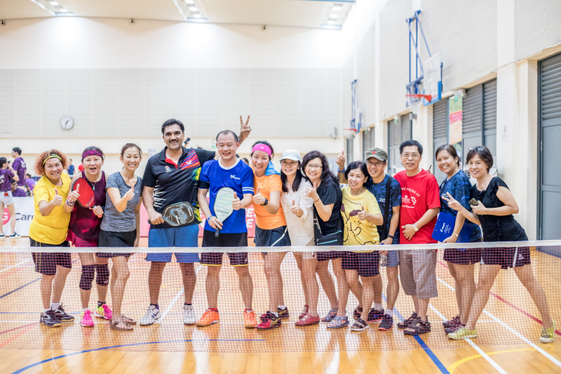 Participants of Singapore National Games 2018 Pickleball Tournament at Jurong West Sports Centre  on July 29. Photo by Dyan Tjhia/SportSG