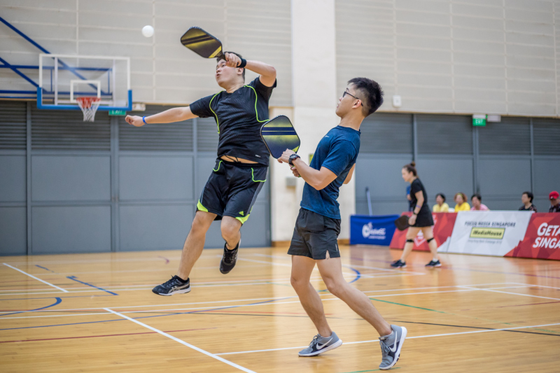 Calvin The Kok Teng & Darryl Kwok Bing Heng in action during the Singapore National Games 2018 Pickleball Tournament, Individual Novice Open Men's Doubles Finals at Jurong West Sports Centre  on July 29. Photo by Dyan Tjhia/SportSG