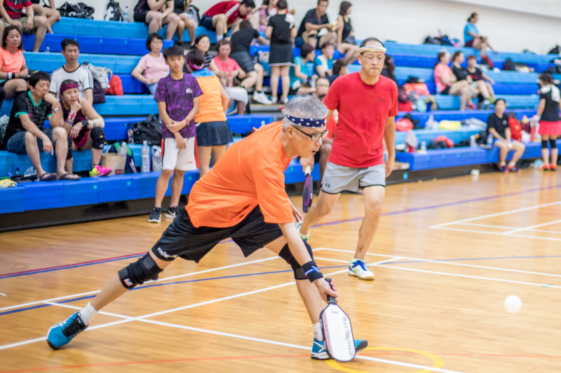 Participants of Singapore National Games 2018 Pickleball Tournament, Individual Intermediate Men's Doubles Finals at Jurong West Sports Centre  on July 29. Photo by Dyan Tjhia/SportSG