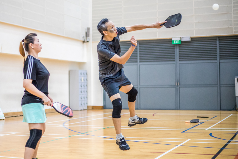 Tan Lai Choon & Ann Loo in action during the Singapore National Games 2018 Pickleball Tournament, Individual Intermediate Mixed Doubles Finals at Jurong West Sports Centre  on July 29. Photo by Dyan Tjhia/SportSG