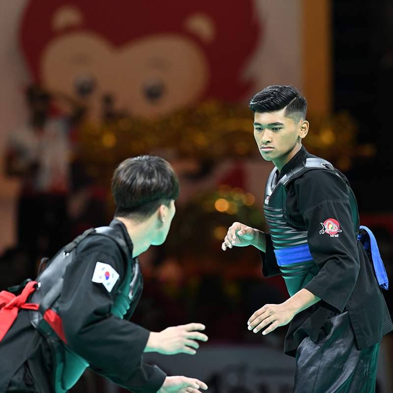 World Pencak Silat Championship 2018 (WPSC 2018). Match #240 highlights. QF Match between Abdul Raazaq representing Singapore (blue corner) and Kang Min representing Korea (red corner). Match was won by Singapore 3-2. Photo by Ben Cho/SportSG