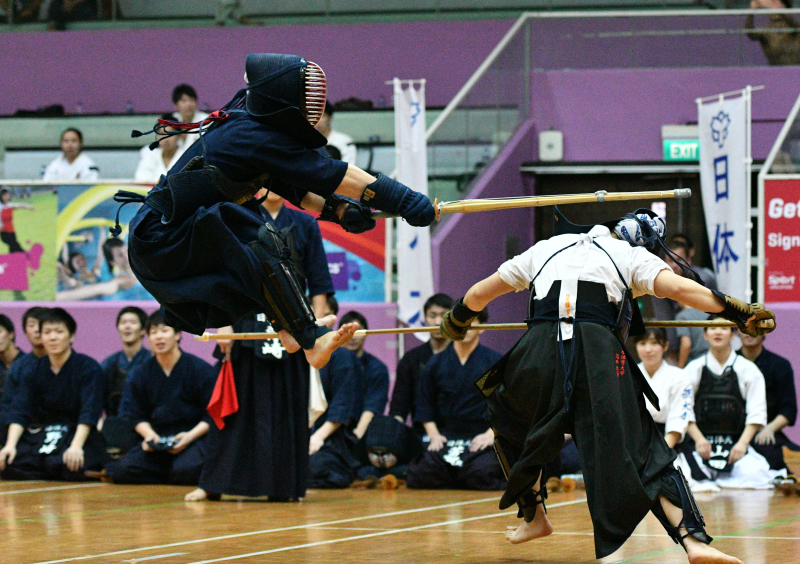 The current style of Kendo has gone thru about 250years of evolution. The bamboo swords also known as Shinai, with the protective equipment, Bogu, are the current gears of todays Kendo practitioners. Photo By Eugene Lim/SportSG