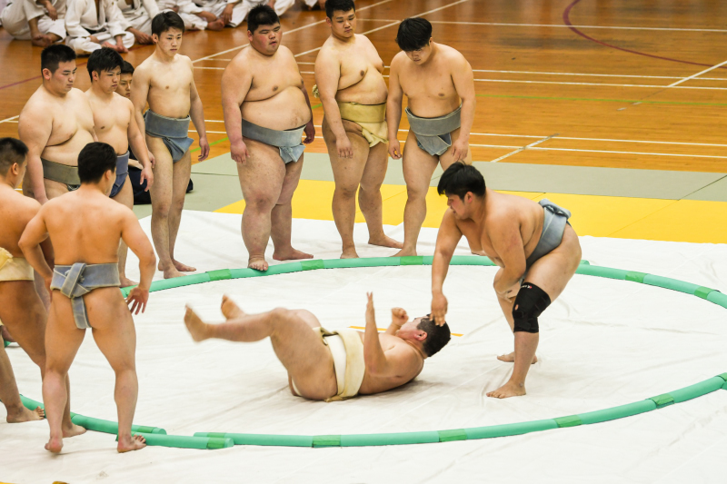Sumo wrestlers watching over a match demonstration in a sand pit. Photo by Knight Ong/SportSG