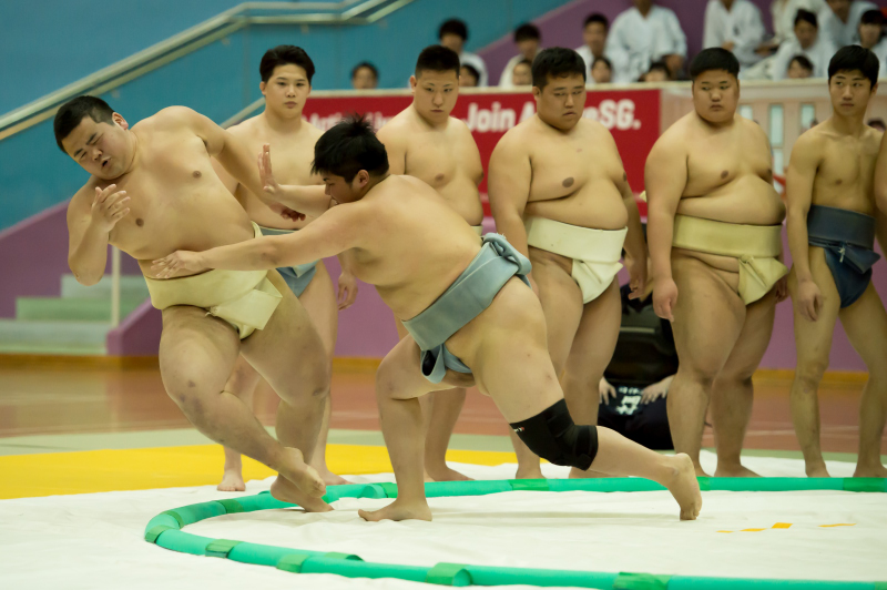 Nippon Sport Science University (Nittai-Dai) - Demonstration of Japanese Martial Arts and Traditional Performing Arts. Sumo Demonstration. Photo taken on 11 February 2018 at Toa Payoh Sports Hall. Photo by Siaw Woon Chong/SportSG