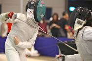 Young fencers captured in action during the Modern Fencing Minime International 2018 Competition. Photo by Ricky Tay/SportSG