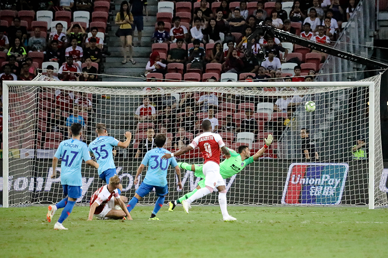 Emile Smith Rowe breaks it even for Arsenal as he scores a goal against Atletica Madrid at the International Champions Cup. Photo by Sanketa Anand/SportSG