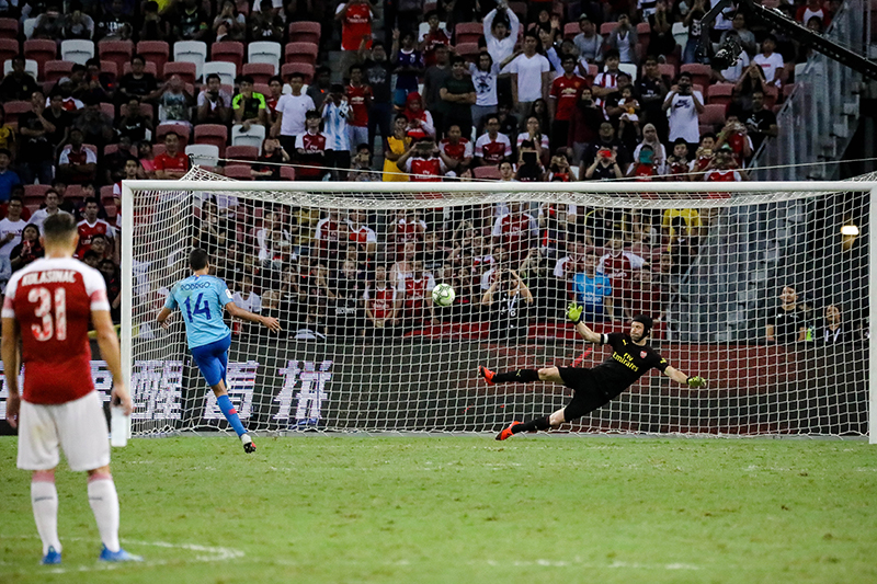 Rodrigo Hernandez scores the first goal for Atletica Madrid during the shootout rounds at the International Champions Cup 2018. Photo by Sanketa Anand/SportSG
