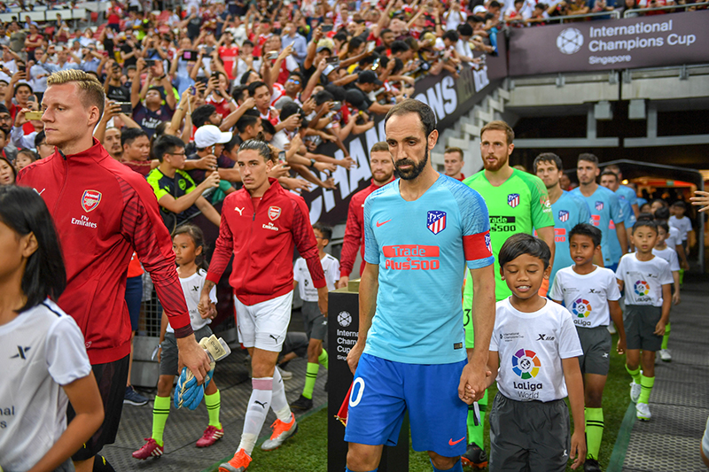 Let the games begin between Atletica Madrid and Arsenal at the International Champions Cup on 26 July. Photo by Suki Singh/SportSG