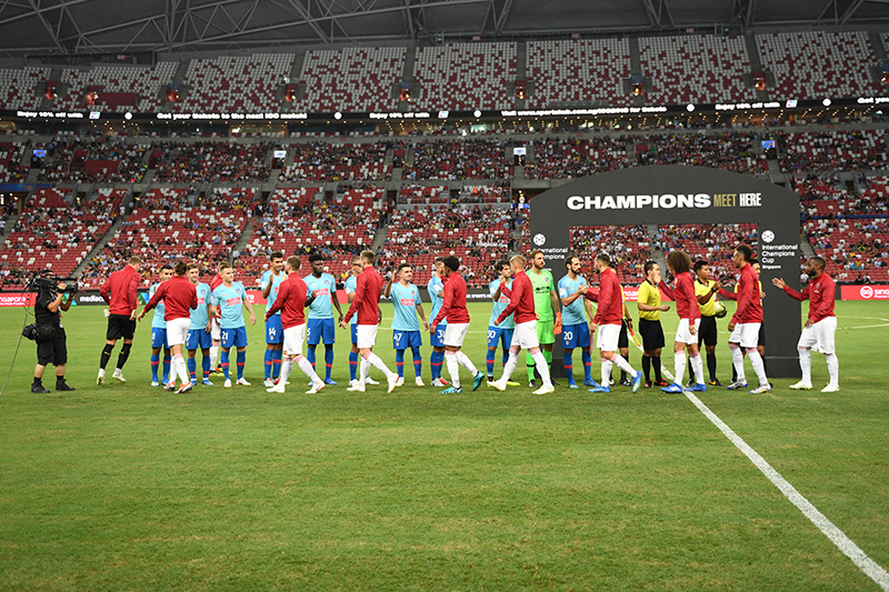 A moment of sportsmanship between the two teams at the international Champions Cup. Photo by Suki Singh/SportSG