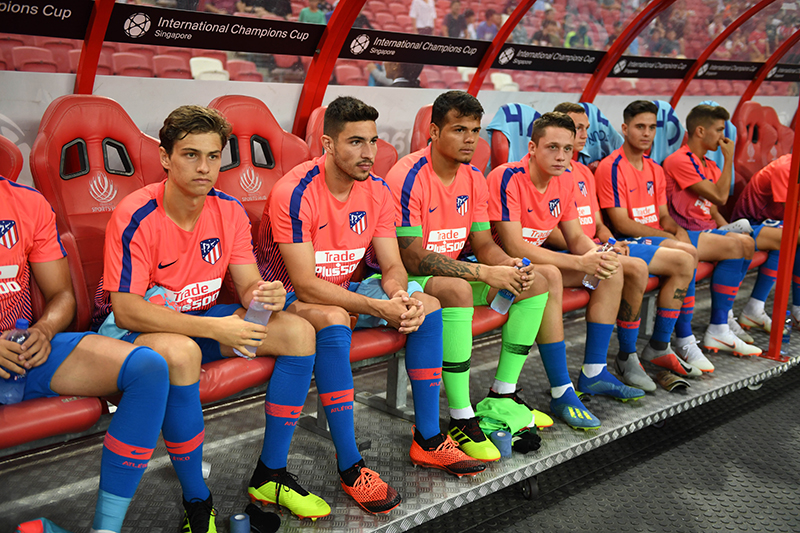 Atletica Madrid players watching and waiting at the International Champions Cup at Singapore National Stadium. Photo by Suki Singh/SportSG