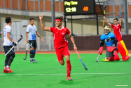 Johari Ahmad celebrating his third goal with the Singapore National Men's Field Hockey Team. Photo by Alexander Leong/SportSG