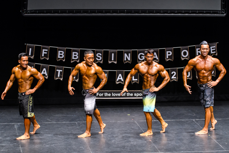 The Men's Physique participants on stage strutting their routine. Photo by Andy Chua/SportSG