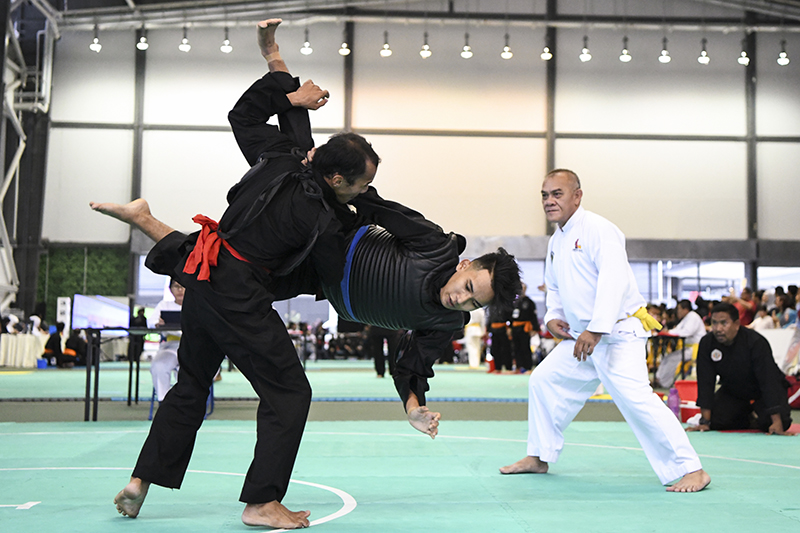 Moments before hitting the ground during the 6th Singapore Open Pencak Silat Championship on 3 November 2018 at Our Tampines Hub. Photo by Ben Cho/SportSG