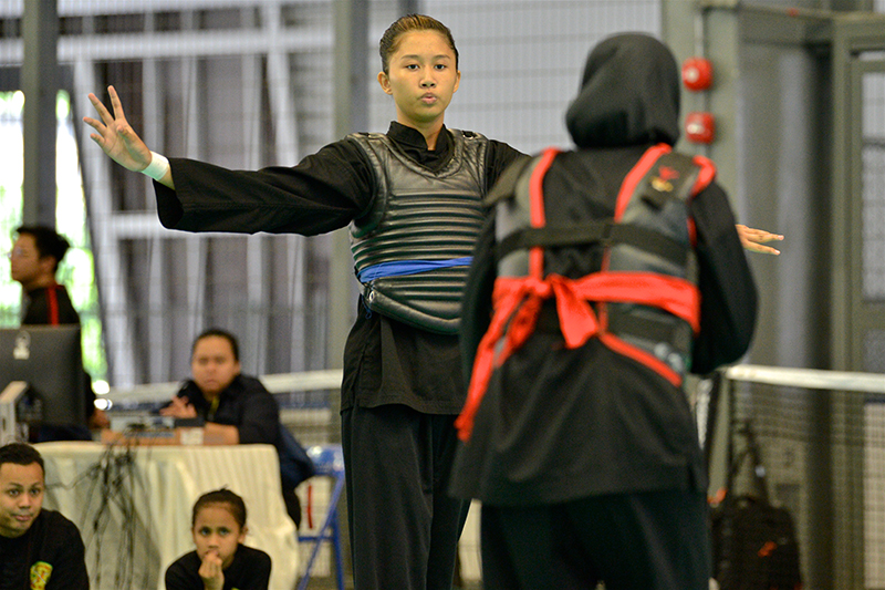 Women's Tanding Category at the 6th Singapore Open Pencak Silat Championship on 3 November at Our Tampines Hub. Photo by Muthya/SportSG