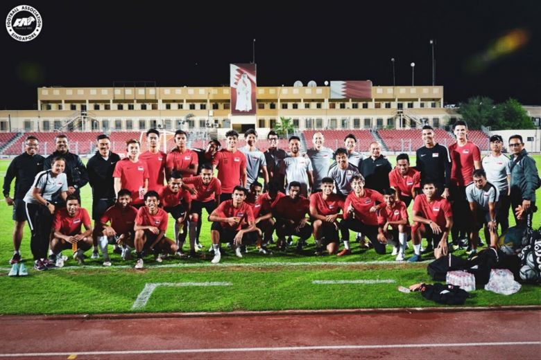 The team during final training at the Al Muharraq Stadium in Bahrain.PHOTO: FOOTBALL ASSOCIATION OF SINGAPORE