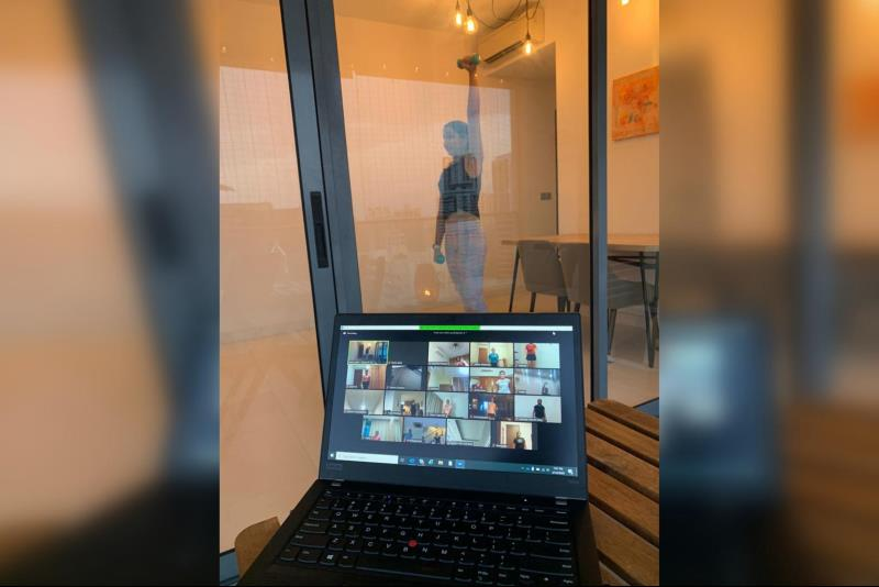 Bollywood Zumba fitness trainer Neha Sethi conducts her workout from home on Zoom. PHOTO: COURTESY OF DANCE & TONIC