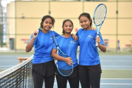 The ActiveSG Tennis Academy at the Heartbeat@Bedok is a family affair for sisters (from left) Haseenah Mohamad Tahar, 16, Hadhinah, 15, and Hanisah, 13. They were previously coached by their father Tahar, who now works at the academy. ST PHOTO: KELLY HUI